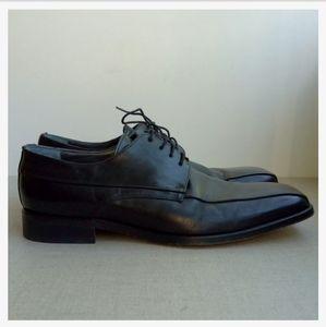 Carlo D. C. Ponty Men Black Leather Lace-Up Shoes
